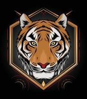 Tiger head illustration for T shirt mascot logo team sport vector