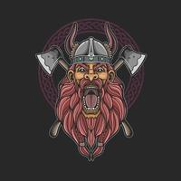 barbarian viking head with cross axe illustration vector
