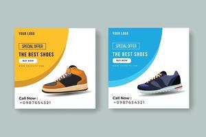 banner de venta de zapatos deportivos de compras en línea vector