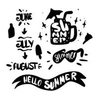 Summer silhouette doodle elements with lettering Summer months June July august vector
