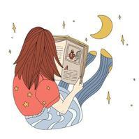 El niño está leyendo un libro por la noche, el asiento de la niña en el piso con el libro, el concepto de contorno plano, sueña y lee vector