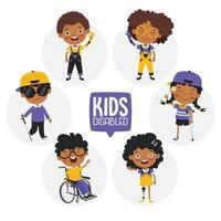 niños discapacitados divertidos dibujos animados posando vector