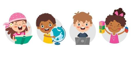 Education Concept With Funny Characters vector