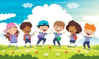 concepto de educación con personajes divertidos vector