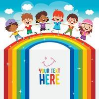 Multi Ethnic Kids Playing On Rainbow vector