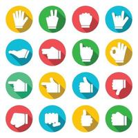 Hands Colorful Icons Long Shadow Flat Design Vector illustration