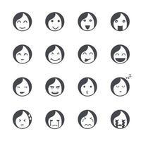 Emotions women icons Vector illustration