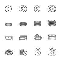 Money icons Vector illustration