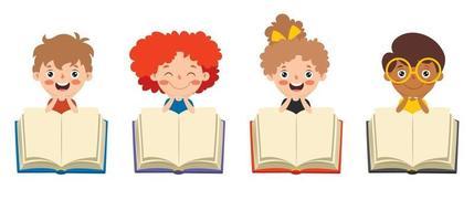 niños felices estudiando y aprendiendo vector