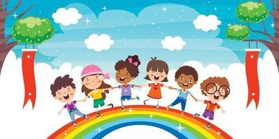 niños multiétnicos jugando en el arco iris vector