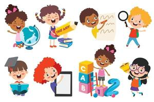 Happy Kids Studying And Learning vector