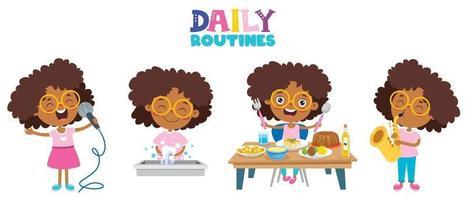 niños pequeños haciendo actividades de rutina diaria. vector