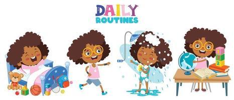 niño pequeño haciendo actividades de rutina diaria vector