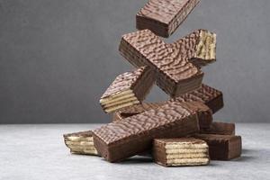 Falling waffle chocolate bar heap of wafer photo