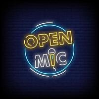 Open Mic Logo Neon Signs Style Text Vector