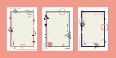 Set of cover brochure template simple geometric pattern and frame background memphis style vector