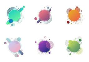 Set of round circles badge multicolor with geometric elements isolated on white background vector