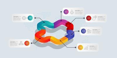 Infografía de línea de tiempo isométrica abstracta 6 pasos con iconos vector