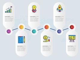 abstract horizontal  growth graph  infographics 6 steps with icon vector