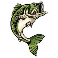 Big Bass fish Leaping vector illustration