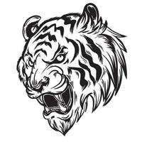 black white illustration of angry tiger head vector
