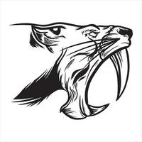 illustration of tiger head with big fangs being angry vector