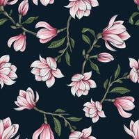 Hand drawn botanical seamless floral pattern with  magnolia flower branch vector