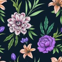 dibujado a mano colorido patrón floral transparente botánico en la oscuridad vector