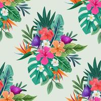 Seamless pattern with beautiful tropical flowers and leaves exotic background vector