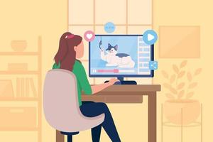 Watching funny viral cat videos flat color vector illustration