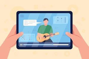 Las manos sostienen la tableta con video en la guitarra tutorial color plano ilustración vectorial vector