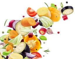 Falling mix of different vegetables photo