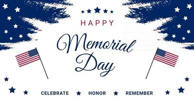 USA Memorial Day greeting card or banner with a flag and stars vector