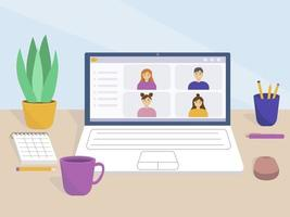 Online meeting from home vector