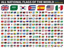 All national flags of the world  Inserted paper flag design  Element vector