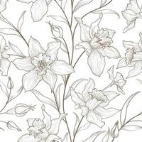 Floral hand drawn sketch seamless pattern Flower narcissus line art retro background vector