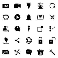 Live stream hd button icons vector