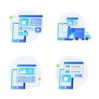 tienda online en dispositivo móvil vector