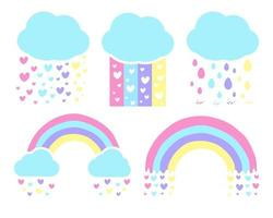 Vector rainbow unicorn Rain in the heart For the screen on the shirt to give to the girl