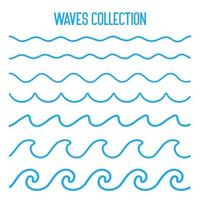Water wave vector Waves swaying in lakes and oceans Isolated on white background