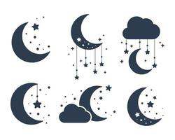 Vector silhouette of the crescent moon and stars in the night sky Isolated on background