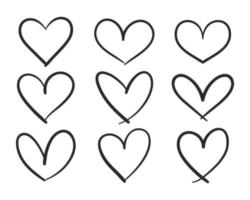 Red heart shaped hand drawn line drawing For adorning the love of a young couple vector