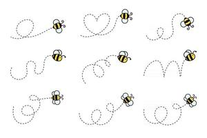 Simple flying bee design vector Cartoon bee isolated on white background