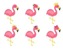 Vector cartoon flamingos and flower accessories glasses bows and hats Great for summer travel
