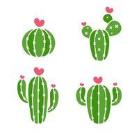 vector de cactus una variedad de cactus que están floreciendo son corazones rosados aislados sobre fondo blanco