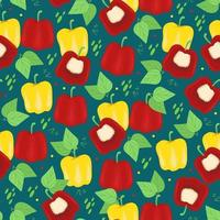 Red and yellow bell peppers seamless pattern Useful vitamins for vegetables Vector print in flat style