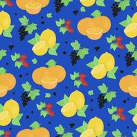 Lemons oranges sprigs of rose hips and currants seamless pattern fruits rich in vitamin C juicy summer fruits vector color print in doodle style hand draw