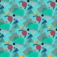 Memphis pattern of geometric shapes vector