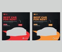 Car rental promotional social media post banner template Premium Vector