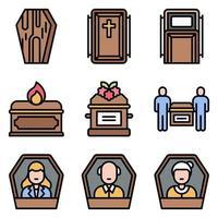 conjunto de iconos vectoriales relacionados con el funeral 4 estilo relleno vector